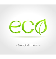 Green word eco with leaf on gray background vector