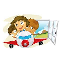 Happy children riding on a jetplane vector image vector image