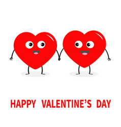 happy valentines day sign symbol two red heart vector image vector image
