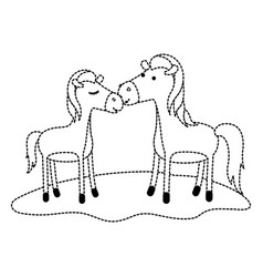 Horses couple over grass in black dotted contour vector
