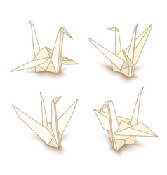 Isolated origami paper cranes vector