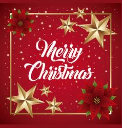 merry christmas card flower poinsettia golden star vector image vector image