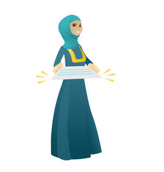 Muslim business woman holding a contract vector