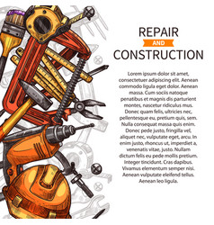 repair and construction poster of work tools vector image vector image