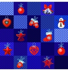 Set of Christmas red toys on a blue background vector image vector image