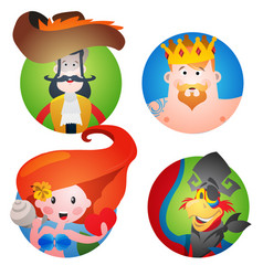 Set of four round of avatars with a picture of vector