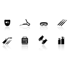 Set of welding equipment icons vector