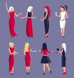 set of women at party purple vector image vector image