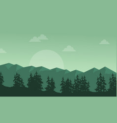 Silhouette of mountain with spruce scenery vector