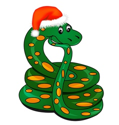 snake in holiday new years hat vector image vector image