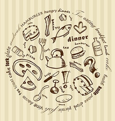 with food icons vector image