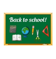 Blackboard and school supplies set vector