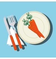 food healthy plate fork vector image