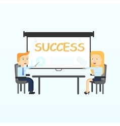 Projection screen modern business teachers giving vector