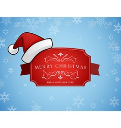 Red Christmas label with Merry Christmas and Happy vector image