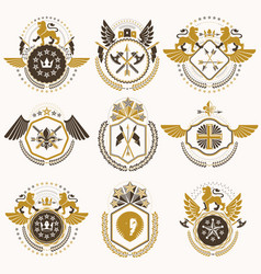 Collection of heraldic decorative coat of arms vector