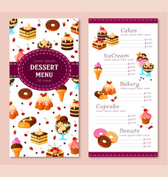 Menu template for bakery desserts cakes vector