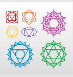 set of beautiful indian ornamental 7 chakra vector image