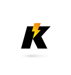 Letter k lightning logo icon design template vector