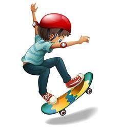 A little man skateboarding vector image