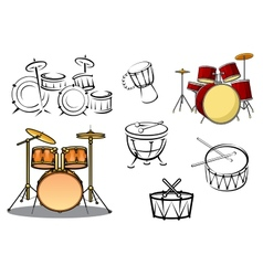 Percussion instruments icons vector