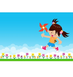 Girl and paper wind turbine on nature background vector