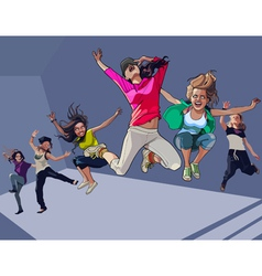 Cartoon happy girls jumping vector