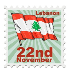 Post stamp of national day of lebanon vector
