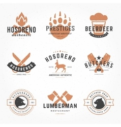 Set hand drawn style retro logos vector