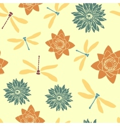 Seamless pattern with dragonflies and water vector