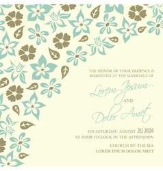Wedding invitation with blue flowers vector