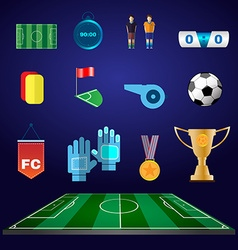 Soccer football game items flat design vector