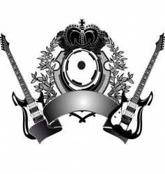 heraldic guitar vector image