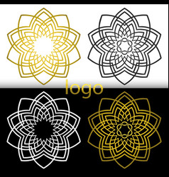 Graphic geometric goldenwhite black flower symbol vector
