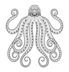Zentangle octopus print for adult coloring vector