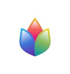 flower logo lotus colorful symbol health yoga icon vector image