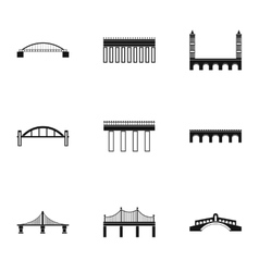 Bridge transition icons set simple style vector