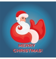 Cartoon Santa Claus that shows thumb up on a blue vector image vector image