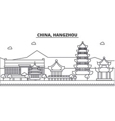 china hangzhou architecture line skyline vector image vector image