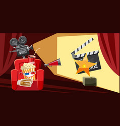 Cinema movie award icons set cartoon style vector