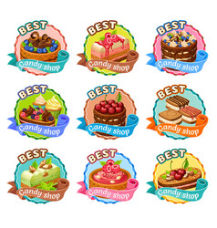 colorful candy shop stickers set vector image vector image