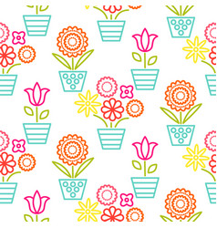 colorful line flower pots seamless vector image vector image