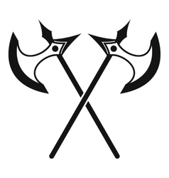 Crossed battle axes icon simple style vector image vector image
