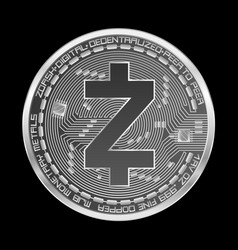 Crypto currency zcash silver symbol vector