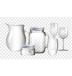 Different types of containers made of glass vector