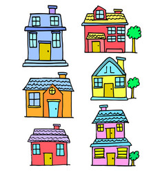 Doodle of house set style collection vector