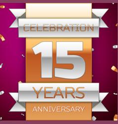fifteen years anniversary celebration design vector image