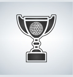 golf trophy cup award icon in flat style vector image