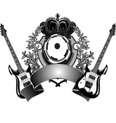 heraldic guitar vector image vector image