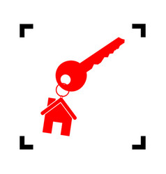 Key with keychain as an house sign red vector